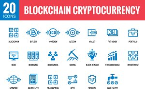 Blockchain Cryptocurrency - 20 Icons