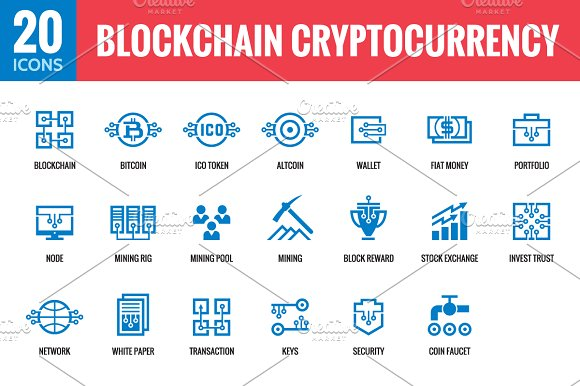 Blockchain Cryptocurrency 20 Icons