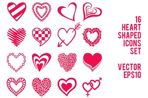 Heart shaped icon elements