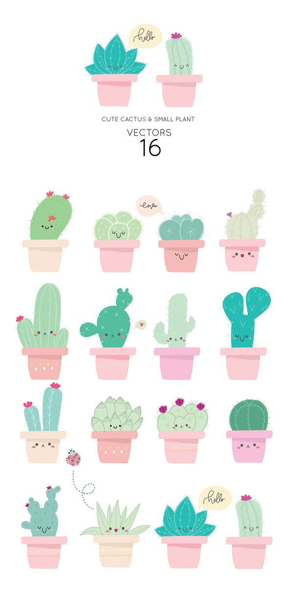 Cute Cactus VECTOR ELEMENTS