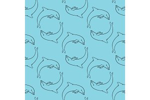 Cute dolphins aquatic marine nature ocean
