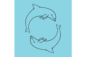 Dolphin icon blue outline style isolated.
