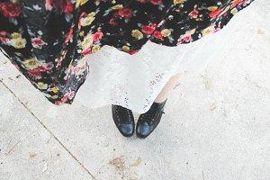 Stylish Feet On Pavement