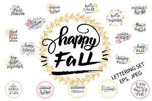 Vector Fall Lettering Set
