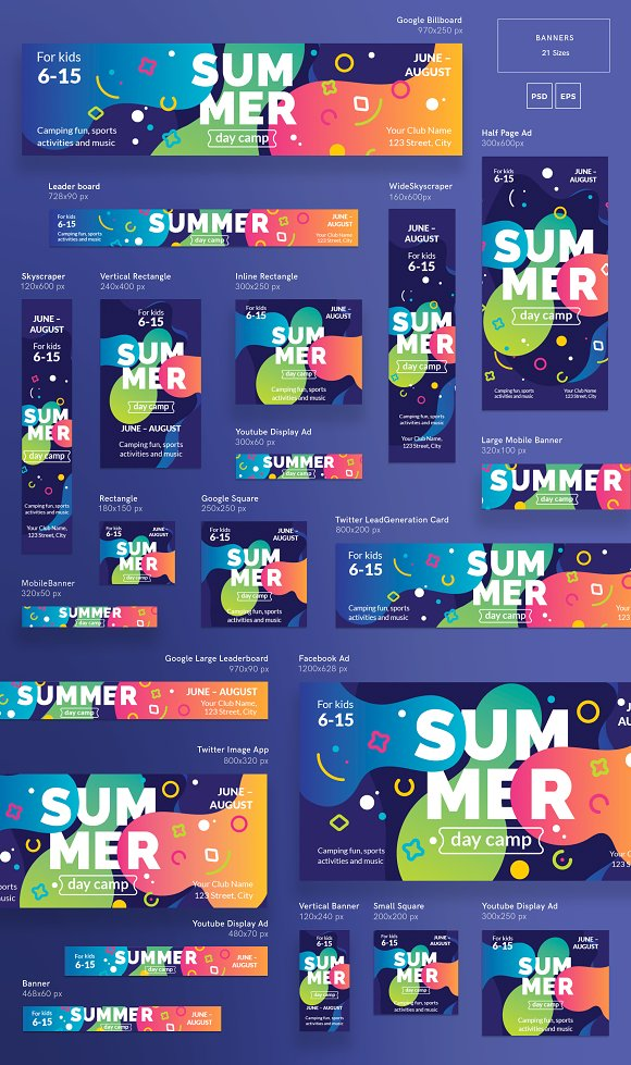 banners pack summer camp templates creative market