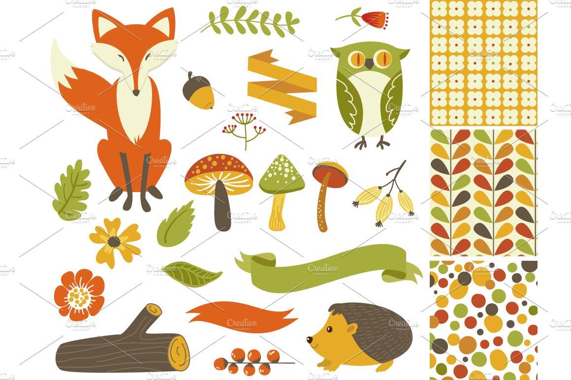 Woodland Fall Clip Art Mushrooms Fox Illustrations