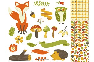 Woodland Fall Clip Art,Mushrooms,Fox