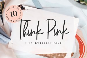 Think Pink Handwritten Font & Logos