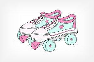 Roller skates in retro style