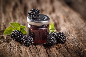 Jar of homemade blackberry jam