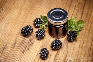 Jar of blackberry jam