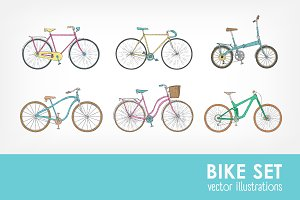 Set of different types bicycles