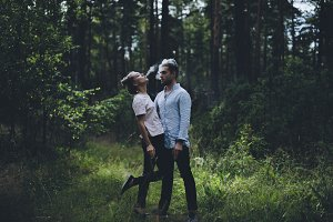 Couple in love in the woods