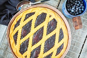 open blueberry pie