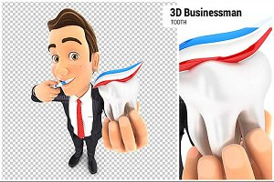 3D Businessman Brushing his Teeth