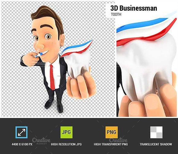 3D Businessman Brushing His Teeth