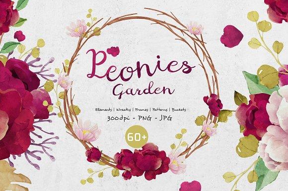 Peonies Garden Graphic Set