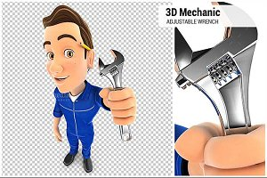 3D Mechanic Adjustable Wrench