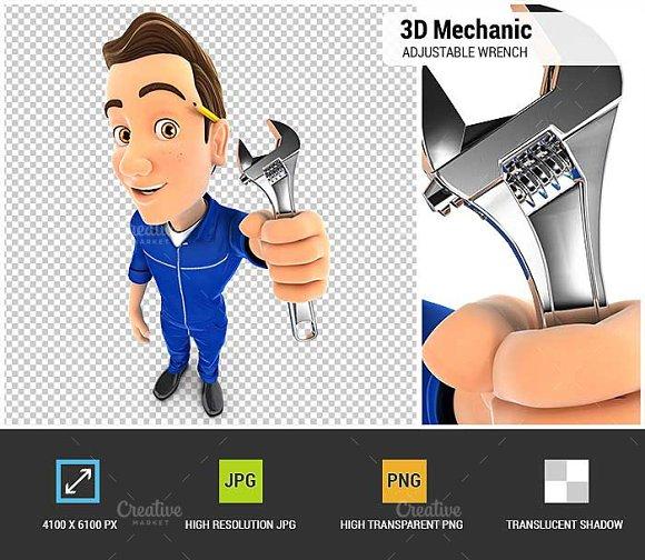 3D Mechanic Adjustable Wrench