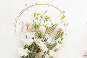 A large bouquet white flowers stock