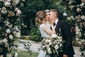 Sweet wedding kiss