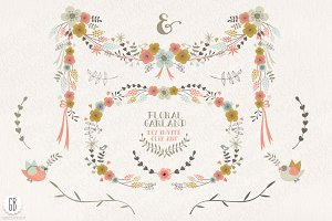Floral garland, flower wreath, birds
