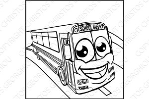 School Bus Cartoon Character Mascot Scene