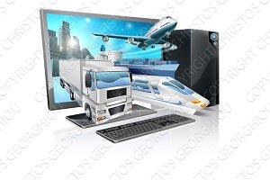 Desktop pc logistics concept