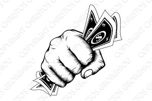 Hand Fist With Cash Illustration