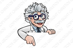 Scientist Cartoon Character Pointing Down