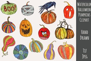 Halloween Pumpkins Watercolor