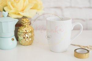 White Mug Mockup Styled Stock Photo
