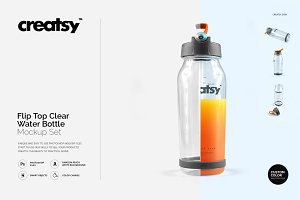 Flip Top Clear Water Bottle Mockup