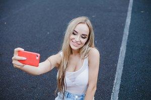 Woman make selfie