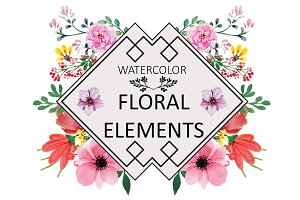 Hand Made Watercolor Floral Elements