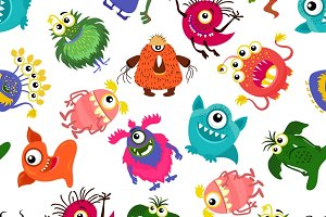 Cute seamless monster pattern