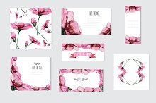 Watercolor Pink Floral Cards