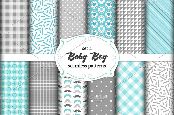 Cute Set Of Scandinavian Baby Boy Seamless Patterns With Fabric Textures