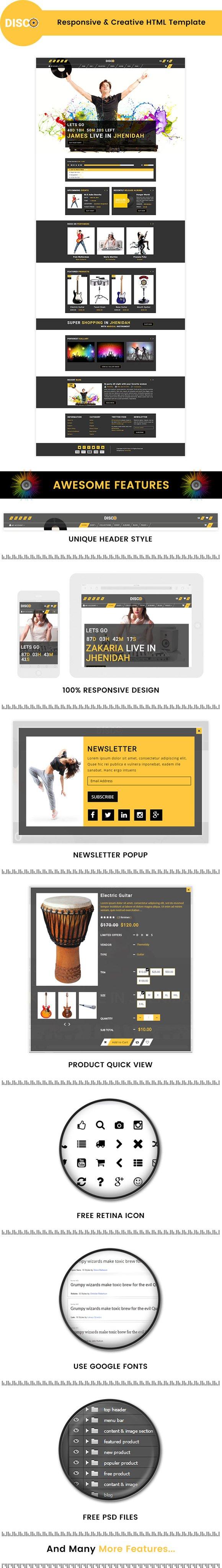 Disco Creative Html Template Bootstrap Themes Creative Market