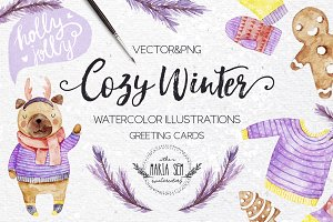 Cozy winter watercolor illustrations