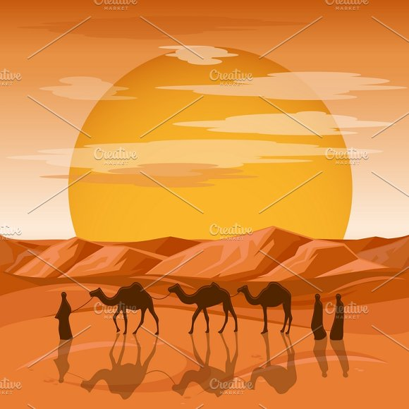 Caravan In Desert Background