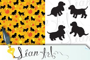 Seamless pattern and set with dogs