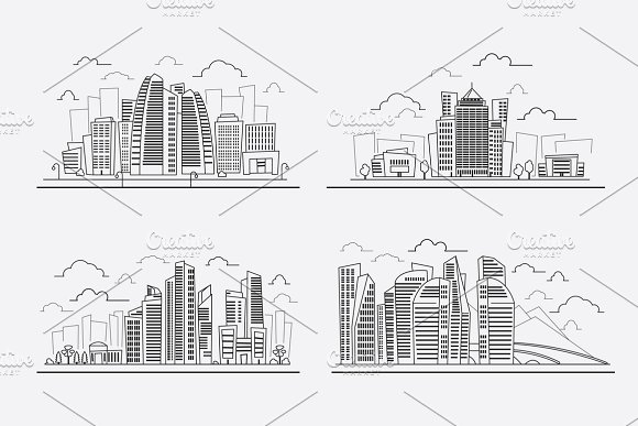 Line Drawing Skyscrapers
