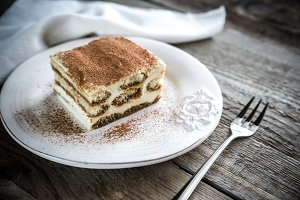 Portion of tiramisu on the plate