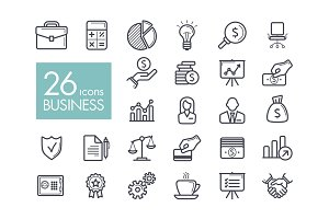 Business and finance web outline icon set