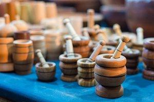 Handmade wooden mortars