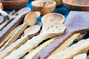 Wooden kitchen tools,
