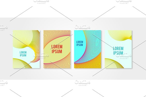 Poster Covers Set With Circle Shapes 5 Trendly Modern Hipster And Memphis Background Colors