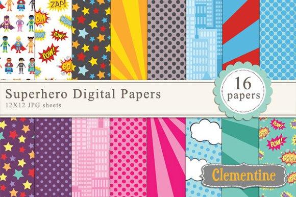 Superhero Digital Papers in Patterns