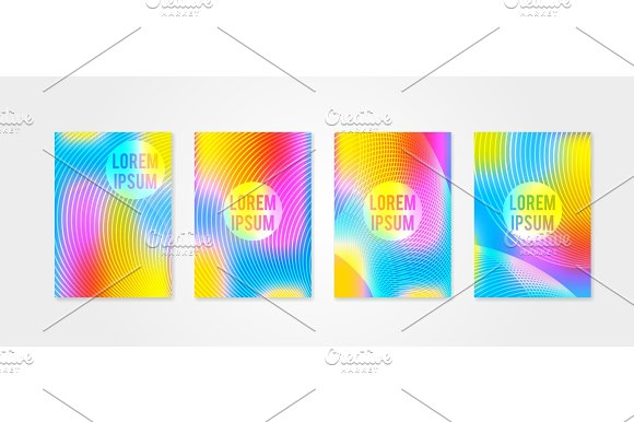 Poster Covers Set With Sound Wave Shapes 3